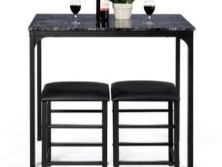 3 piece Counter Height Rectangle Dining Table and 2 Stools Faux Marble Retail 151 49