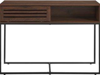 42  Modern Slat Door Entry Table   Dark Walnut