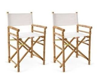 Bamboo Set of 2 Director Chairs and 1 Square Bamboo Table Retail 166 49