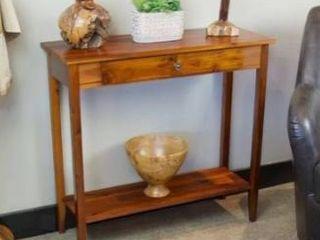 Casual contemporary acacia console table with shelf