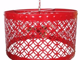 Beautiful Circular Cutout Metal Chandelier  Red Retail 182 99