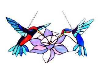 Chloe Tiffany Style Hummingbird Design Window Panel Suncatcher Retail 78 48