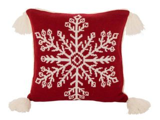 Glitzhome 18 Inch Knitted Snowflake Red Pillow Cover with Tassels