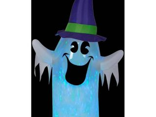 Halloween Airblown Inflatables Clear Ombre Projection Kaleidoscope Ghost w Witch Hat