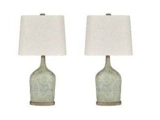 Maribeth Vintage Casual Sage Paper Table lamp   Set of 2   14 W x 9 D x 28 H Retail 107 99