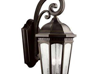 Kichler lighting Courtyard Collection 3 light Rubbed Bronze Outdoor Wall lantern Retail 524 99  broken piece of glass