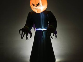 HomCom 7  Tall Inflatable Halloween Pumpkin Reaper light Up Yard Decoration with lED lights and Fan