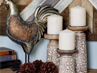 The Curated Nomad Buckroe 3 piece Mango Wood and Iron Carved Floral Candle Holder Set