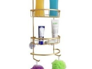 2 Tier Suctioned Shower Caddy with Towel Rack  Gold