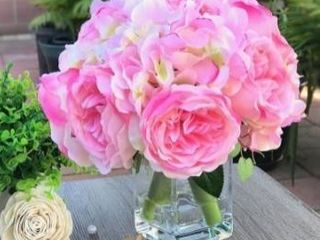 Enova Home Pink Peony and Hydrangea Mixed Faux Flower Arrangement With Clear Glass Vase