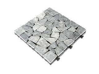 Courtyard Casual Natural Travertine Stone Gray Deck Tile  6 pc Set Retail 75 98