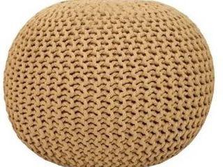lychee Knitted Cotton Round Pouf Beige Ottoman