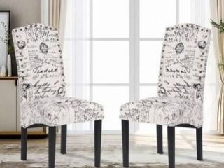 Dining Script Fabric Accent Chair with Solid Wood legs  Set of 2 Retail 228 99