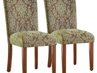 HomePop Elegant Blue and Brown Damask Parson Chairs  Set of 2    N A Retail 204 98