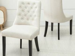 Copper Grove Coldspring linen Wooden Roll top Tufted Dining Chair  Set of 2  Retail 141 99