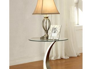 Furniture of America Wuct Contemporary Silver Glass Top End Table Retail 173 99