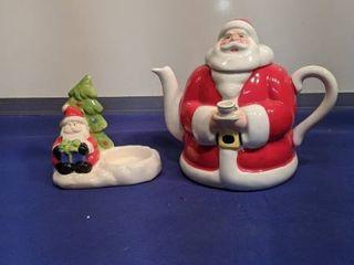 Santa teapot and candle holder