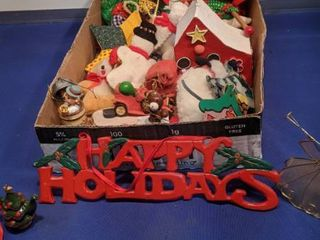 flat of Christmas ornaments