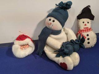two snowman and Santa head ornament