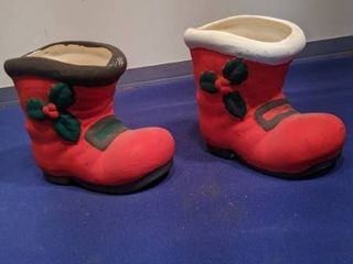 two Christmas boots