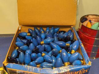 box and can of Christmas light bulbs untested