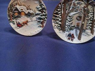 two Christmas plates