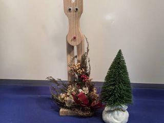 reindeer and small Christmas tree