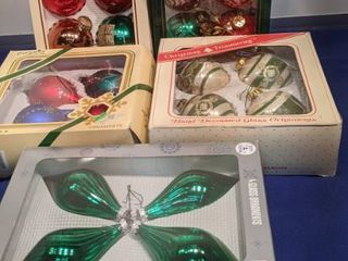 five boxes of ornaments