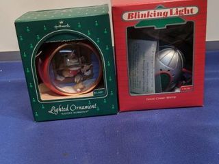 lighted ornament and blinking light ornament by Hallmark untested