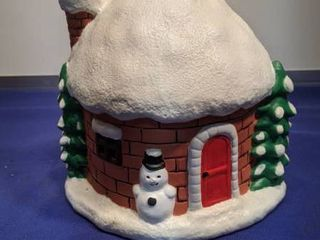 Santa and snowman Christmas themed music box house