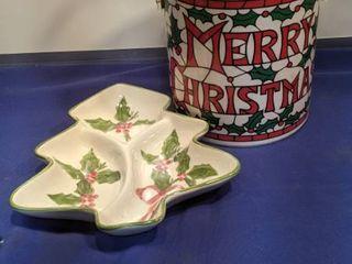 Christmas ice bucket and dish