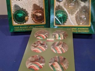three boxes of ornaments