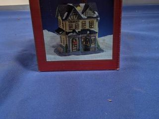 hand painted porcelain Christmas village in box open