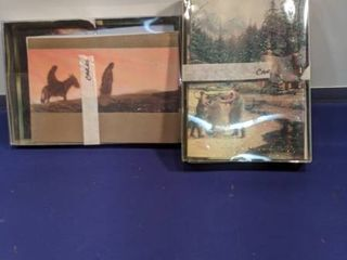 two boxes of Christmas cards