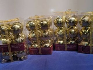 four boxes of celebration 12 carton gold shatterproof ornaments new inbox