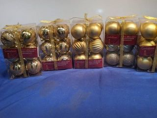 five boxes of celebration 12 cartons gold shatterproof ornament new inbox