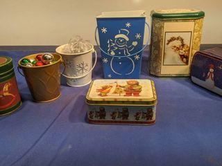 seven Christmas tins