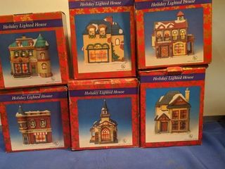 holiday lighted houses in boxes