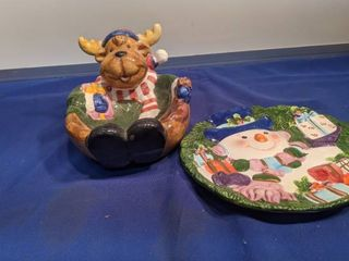 moose bowl and snowman plate
