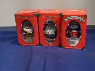 three hermitage pottery Christmas ornaments new in boxes