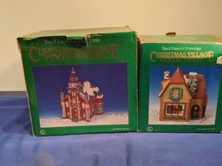 two hand painted porcelain Christmas village collectible in box