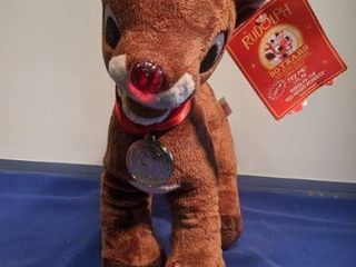 Rudolph the Red Nosed reindeer plays the song and nose lights up works