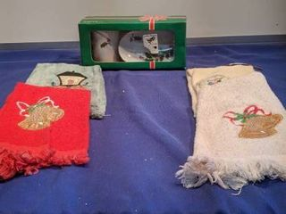 Christmas Tumbler and soap dish set with four hand towels