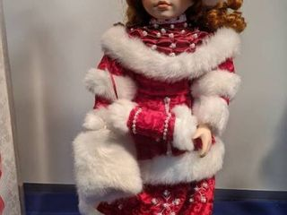 American classic collection doll faith Christmas doll handcrafted porcelain doll plays we wish you a Merry Christmas in box