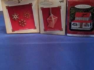 3 Hallmark ornaments  snowflake fun  an angels touch and the farm house