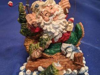 Santa fishing stocking hanger