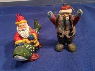 two Santa ornaments