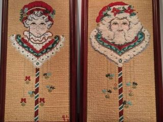 frame embroidery Mr and Mrs Santa Claus 12x22 3 4