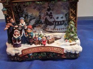 Merry Christmas scenery falling snow motions light effects musical and inbox box open untested