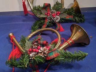 two Christmas horns